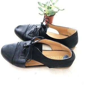Restricted  Black Oxford Flats